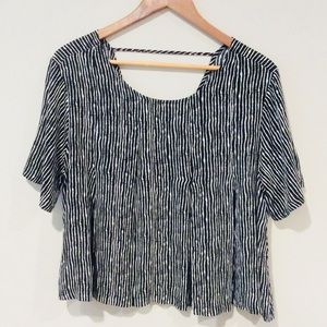 ASTR the Label Black and White Striped Blouse Sz M